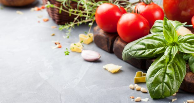 Italian food background Ingredients on stone table