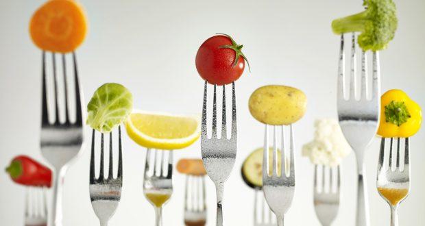 Raw vegetables On Forks